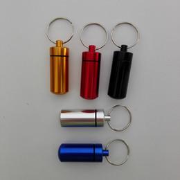 Wholesale Medicine Bottle Container - key holder Aluminum Waterproof Pill Shaped Box Bottle Holder Container Keychain medicine Keyring keychain box 48*17mm 4 colors best