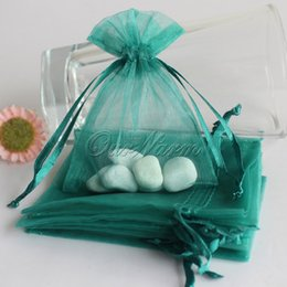 """Wholesale Teal Candy - Wholesale- 50pcs lot Teal Blue 3"""" x 3.5"""" 7cm x 9cm Strong Sheer Organza Pouch Wedding Favor Gift Candy Bags"""