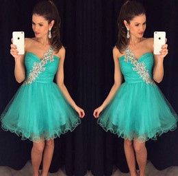 Wholesale One Shoulder Sequin Homecoming Dresses - 2017 New Green Short Homecoming Dresses One Shoulder Beaded Crystal Tulle Mini Modest Prom vestido formatura curto Cocktail Party Gown Cheap