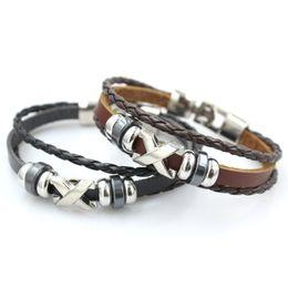 Wholesale Diy Wrap Bracelet - Women Handmade Braid Genuine X letter vintage Leather bracelet Wrap Charm Bracelets Bangles Men Jewelry Handmade DIY