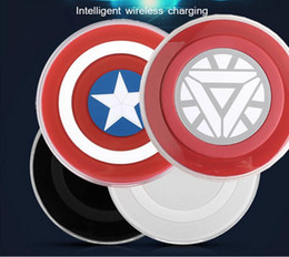 Wholesale Uk Standards - Qi Standard Wireless Charger Pad For Galaxy S6 Qi Wireless Charger Avengers Captain America Style For Qi-abled device With Retail Package U3