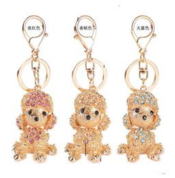 Wholesale Diamond Engagement Ring Keychain - Korean Style Poodle Dog Women Key Rings Engagement Key Chain Novelty Crystal Diamond Keychain Festival Wedding Gifts Key Fashion Accessories