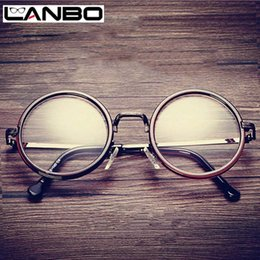 6e5f5d4d6e Wholesale- LANBO Hot Women Men Big Round Glasses Frames Newest Purely  Handmade Vintage Optical Eye Frame Plain Glass Fashion Oculos811