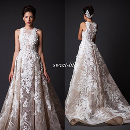 Wholesale Marriage Jewels - Arabic 2016 Modern Long Court Train Organza Lace Evening Dresses Krikor Jabotian High Neck A-line Marriage Formal Wear Celebrity Prom Gowns