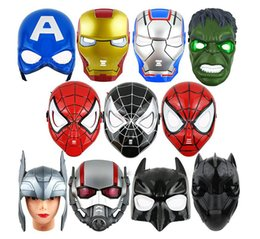 Wholesale Hulk 11 - 11 style Led Glowing Light Mask hero SpiderMan Captain America Hulk Iron Man Mask For Kids Adults Party Halloween Birthday Full Face Masks