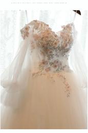 Wholesale Korean Princess Photo - Wedding Dresses 2017 Real Pictures New Korean Princess Dream Palace Wedding Gown Hand Flowers Bride Dresses