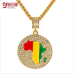 Wholesale Golden Maps - 2016 Trendy HipHop 18k Gold Plated Map Mosaic Crystal necklace round pendant fashion necklace for men wholesale golden chain (small size)