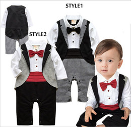 Wholesale Handsome Black Baby Boy - 2017 Spring Autumn handsome gentlemen baby rompers with bow tie tuxedo vest boy sets kid clothes wholesale