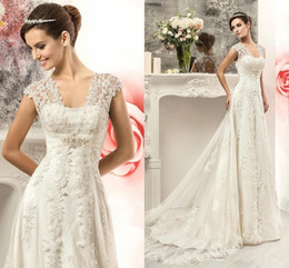 Wholesale Maternity Wedding Empire - 2016 New Modern Empire Wedding Dresses Cap Sleeve Lace Appliques Maternity Pregnant Tulle Long Court Train Plus Size Hollow Back Bridal Gown