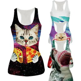 Wholesale Womens Tanks Tops - Raisevern New Womens Tank Top Vest Pizza Cat Shark Poker Lion 3D Printed Fashion Sleeveless T-shirt Camisole 21 Styles