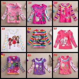 Wholesale Girls Butterfly Shirt Wholesale - Spring autumn children clothes long sleeve baby girls flower T-shirt owl butterfly rabbit full printed girl's cotton tops kids clothing