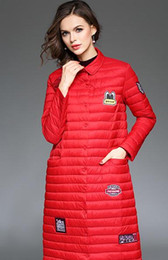 Wholesale Canada Long Down Coat - sportsneakers new arrival 2017 Women Cartoon stickers embroidered winter coat Ultra-thin long down jacket Canada Sweden
