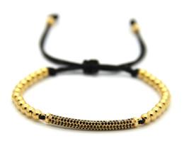 Wholesale Thin Black Chain - 2016 New Fashion Men & Women Jewelry, 4mm No Fade Bronze Beads Weave Thin Black Cubic Zirconia Tube Braided Macrame Bracelets
