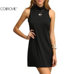 Wholesale Dresses Shift Cotton - COLROVE Ladies 2016 New Arrival Summer Style Sexy Dresses Ladies Casual Mock Neck Sleeveless Shift Mini Dress