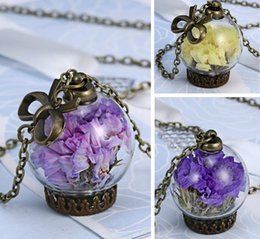 Wholesale Vintage Crystal Bottles Wholesale - glass Dry flower necklace real natural flower Bottle necklace Pendant necklace Bronze vintage retro necklace jewelry