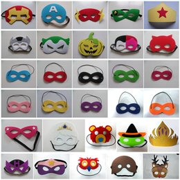 Wholesale animal masks children - 166 Styles Cartoon Mask Eye Shade for Halloween Mask Superhero Children Cosplay Eye Masks Party Masquerade Performance Free Shipping