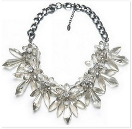 Wholesale Crystal Statement Necklace Gemstone - ZA*A New Gemstone Flower Pendant Necklace Fashion Clear Drop Crystal Bib Statement Necklace Women Jewelry For Christmas Gifts Free shipping