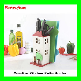 Wholesale Plastic Tool House - Creative House Design Kitchen Knife Stand Plastic ABS Knife Holder Cutting Board Scissor Knives Holder Kitchen Tools