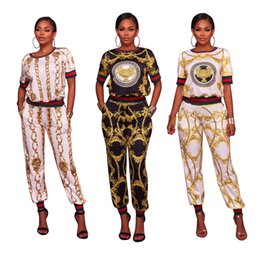 Wholesale Women Famous Shirt - 2017 New arrive famous brand casual two piece set women o-neck short sleeve t-shirt and sexy print full length pant
