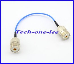 Wholesale Uhf Adapter - Wholesale-10 pieces lot Blue RG316 UHF Female to UHF Jack Connector Adapter Extension cord 15cm Cable Free shipping