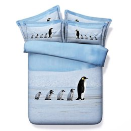Wholesale Duvet King 4pcs - Lovely Penguins 3D Printed Bedding Sets Fabric CottonTwin Full Queen King Size Bedclothes Bedspreads Duvet Cover Bed Set Animal 600TC 3 4pcs