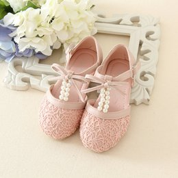 Wholesale Pearl Loop - 2016 spring and summer New Fashion Kids Pink and Ivory Pearl Flower Girls Shoes Bow Sandals Princess Shoes Girls Party Shoes