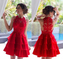 Wholesale Mini Skirt Sheer Lace - 2016 Elegant Red Lace Top Short Mini Cocktail Dresses Jewel Neck Tiered Skirts Organza Party prom Dresses Custom Made Hot Sale Cheap