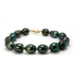 Wholesale Peacock Ring Bracelet - Stunning 12-13mm tahitian peacock green pearl bracelet 7.5-8 inch
