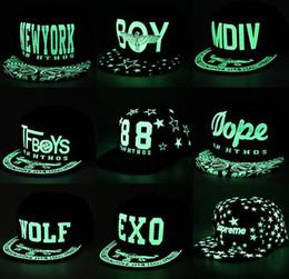 Wholesale Fluorescent Snapback - Fashion Men Women Baseball Cap Hip Hop Glow Eyes Graffiti   Maple Leaf Fluorescent Hat Hip-Pop Cap Hat Snapback Luminous Black Ball Caps