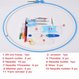 Wholesale Plastic Product Home - china lastest products zakka fashion colored plastic frame with nessary tools as tool set for DIY home patwork for sale 27cm round