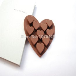 Wholesale Soap Molds Heart Shape - Free Shipping Love Heart Shape 10 Holes Silicone Baking Cup Molds Cake Muffin Candy Cupcake Pudding Ice Soap Moulds Bakeware