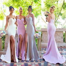 Wholesale Silver Dress Small Train - 2017 Mermaid Spaghetti Straps Sweetheart Simple Bridesmaid Dresses with small train Floor Length Satin Bridal Dress High Split Prom Gowns