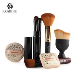 Wholesale Flat Kabuki - Coshine Oval Contouring Kabuki 82 Makeup Brush Blush Brush Flat Foundation Brush Air Brush Puff Set