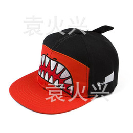 Wholesale Hiphop Hat Korean - 2015 new style63 Korean version of the cartoon shark mouth hiphop hip-hop cap baseball cap hat men and women couple sub- hot sell63