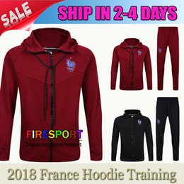 Wholesale Football Training Kits - 2017 TOP France Soccer Jacket Kits Track suit Football Hoodie Training Suit Red Black 16 17 Football TrackSuit survetement Maillot Shirts