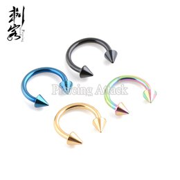 Wholesale body jewelry spike - 30 pcs 14 Gauge 1.6*10*4mm Titanium Anodized Spike Horseshoe Circular Barbell Body Jewelry Free Shipping Wholesake