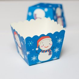Wholesale Cupcake Cases Bulk - Free Shipping blue Snowman Christmas decoration square muffin cake cups, party bulk small cupcake cases supply kids favors