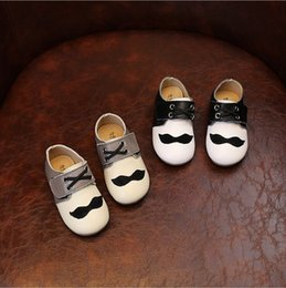 Wholesale Boys Fashion Dress Shoes - Fashion Style Mustache Genuine Leather Baby Shoes Kids Sneakers Cowhide Leather Children Shoes Footwear Cartoon Boys Girls Beard Shoes