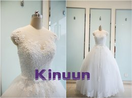 Wholesale Korean Up Skirts - New arrival real photo scoop sparky beads appliques capped tiered skirt a line backless korean wedding dresses lace up bridal gown 2016