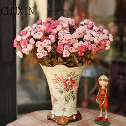 Wholesale Red Rose Palace - Luxury Palace Style 48 Heads Bouquet Silk Rose Artificial Decoration Flower Wedding Hotel Home Table Decor