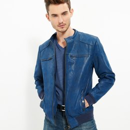 Wholesale Real Blue Leather Jackets - Fall-2016 Men's real leather jacket pigskin Genuine Leather jacket men leather coat ocean blue motorcycle jackets