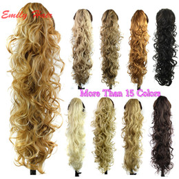 "Wholesale Curly Ponytails - Wholesale-26"" 210g Claw Hair Tail Ponytail Hair Extension Wavy Curly Style Tress Curly Synthetic Hairpieces Chignon Tail Pieces"