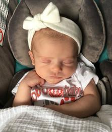 Wholesale Girls Crochet Head Wrap - Newborn Crochet Hairbands Baby Girls Infant Cotton Bows Headbands Tie Knot Soft Turban Head Wrap Toddler Headdress 0-3 Months