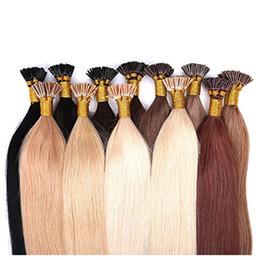 "Wholesale Keratin Tip Brazilian Hair - Brazilian Fusion Keratin Pre Bonded I Tip Human Hair Extensions 1g str 100g Lot 18""-28"" #1 #2 #4 Human Hair"