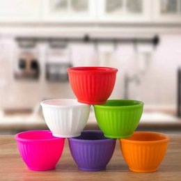 Wholesale Brown Kitchens - Children Silicone Bowls Kitchen Utensils For Heat Resisting Baby Rice Bowl Non Slip Multi Color 5 5dx C R