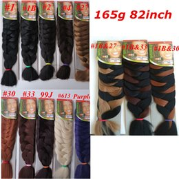 wholesale braiding hair extensions Coupons - Xpression Synthetic braiding Hair 82inch 165g single color Ultra Braid Premium Kanekalon jumbo braiding hair extensions