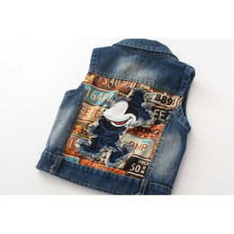 Wholesale Kids Denim Cowboy Vest Wholesale - 2016 Grils Cowboy Vest Children Clothing Outerwear&Coats for Kids Clothes Cartoon Patch Embroidered Design Jackets, Mickey cowboy waistcoat
