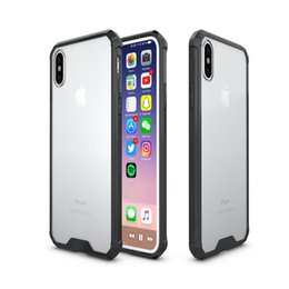 Wholesale Transparent Shockproof Iphone Bumper - For iPhone X Transparent Acrylic Hybrid Armor Bumper Case Shockproof For iPhone 8 7 6S Plus