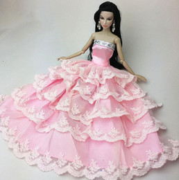 Wholesale Handmade Clothes For Girls - New Lovely Girl Birthday Gift Pink Handmade Fashion Wedding Gown Dresses Clothes Outfit Party For Princess Doll Xmas Gift