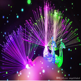 Wholesale Fibre Led Wholesale - LED Night Lights for Kid Child Peacock Shap Light Shine Fibre-optical Lamp Bulb Colorful LED Multi Color